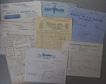 8 old company billheads, 1930's and 40's, Original documents, Yorkshire. Highly decorative, collage, scrapbooking etc
