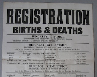 1903 Births and Deaths Registration poster, Hinckley and District, Leicestershire
