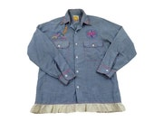 Vintage 50s 60s 70s Women 39 s Men 39 s Blue Selvedge Denim Chambray Embroidered Floral Flowers Aztec Bird Tribal Sun Shirt XS Small 14 Lace