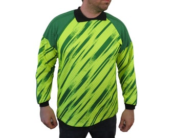 a5b70edfa Vintage Mens Padded Elbows Goalie Soccer Shirt Size XL Jersey Neon Yellow  Green Long Sleeve High Visibility Wacky 90s Made in USA Goalkeeper