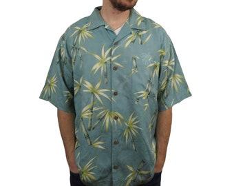 87ae6eb36 Tommy Bahama Mens Silk Hawaiian Camp Shirt Size Medium Floral Button Down  Palm Trees Short Sleeve Vintage Loop Collar Blue Yellow Aloha