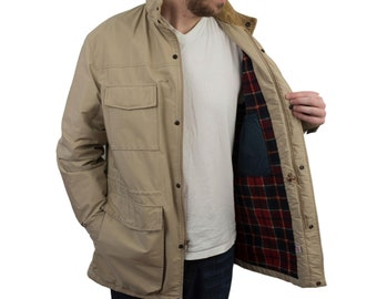 514b3d03d4a56 Vintage Pendleton Mens Wool Plaid Jacket Size Medium Outdoorsman Corduroy  Coat Full Zip Hunting Hiking Pen West Made in USA Rain Travel Barn