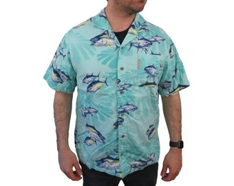 3438778b Vintage Columbia Mens Tuna Fish Hawaiian Shirt XL River Lodge Camp Blue  Button Down Short Sleeve Yellowfin Relax Floral Fishing Loop Collar