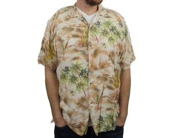 39c92a909 Route 66 Mens Hawaiian Camp Shirt Medium Palm Trees Marlin Swordfish Relax  Button Down Short Sleeve Rayon Silk Floral Aloha Waves Vintage