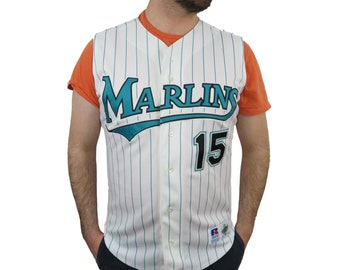 1f85e5db6a0 Russell Diamond Collection Mens Kevin Millar Florida Marlins MLB Jersey 44  Vintage 1990s Authentic Stitched Sewn Pin Stripes Baseball 1999