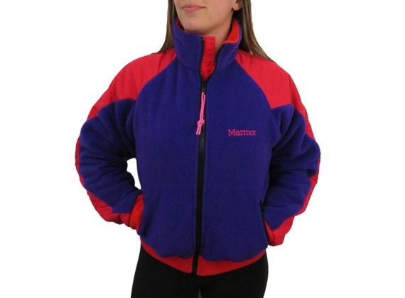 Vintage windbreaker jacket 1980/'s hiking trail jacket rain poncho hoodie size large colorblock red blue