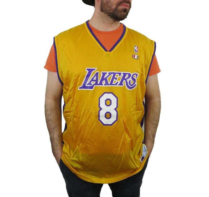 the latest 08e45 7c8e4 Champion Mens Kobe Bryant Los Angeles Lakers NBA Jersey 52 56 Vintage  Basketball 2XL XXL Rookie Practice Warm Up Shirt LA Lakers #8