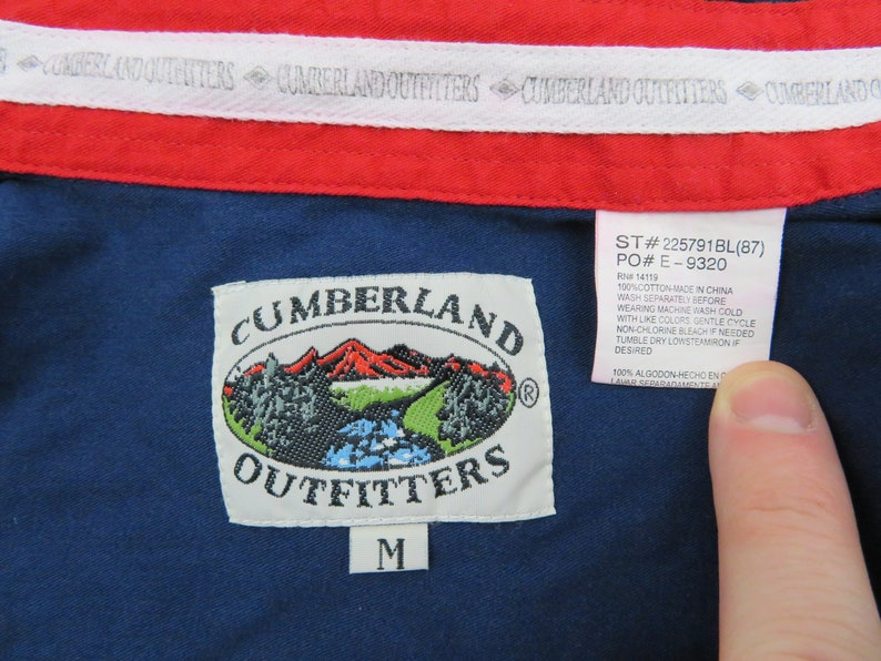 Vintage Cumberland Outfitters Mens Western American Flag Shirt Medium Eagle Cowboy Long Sleeve Pearl Snap Blue Red 4th Of July Americana