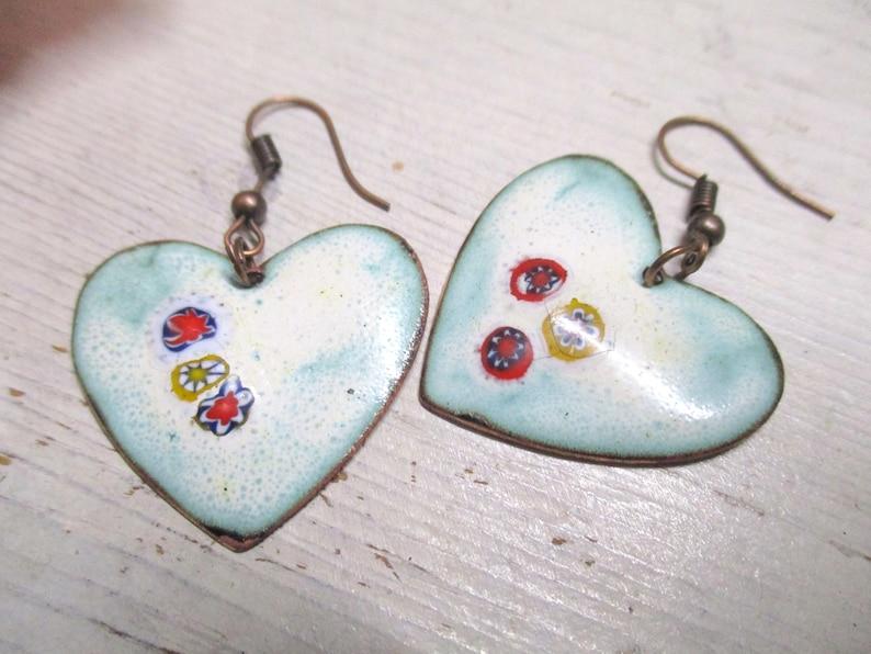 Earrings pendant earrings enamel on copper handmade unique enamelled Magical Hearts :