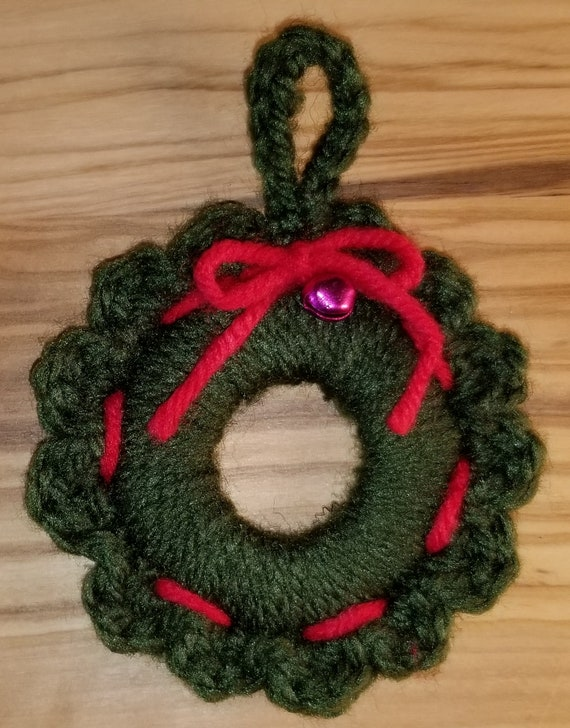 Handmade Crochet Christmas Wreath Ornament With Ribbon Bell Etsy