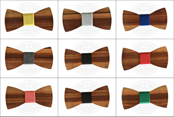 gift for him accessories for men Elegant wooden bow tie in rosewood in wooden box