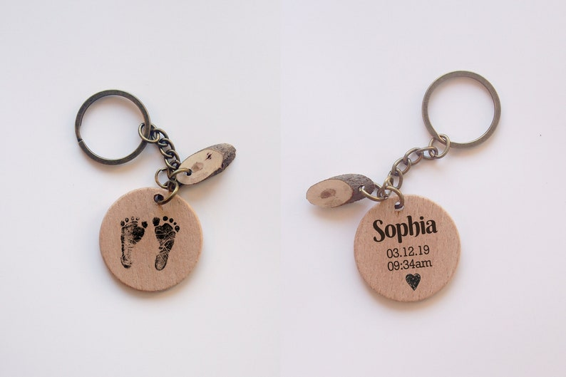 Personalized new born Footprint,Fingerprint,wood key chain,Custom Memorial Gift. Double sided keychain