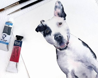 4b67bc20aebf Watercolor Custom Pet Portrait, Pet Drawing, Dog Illustration, Custom Cat  Drawing, Pet Housewarming Gift for mom, Gift for her Original