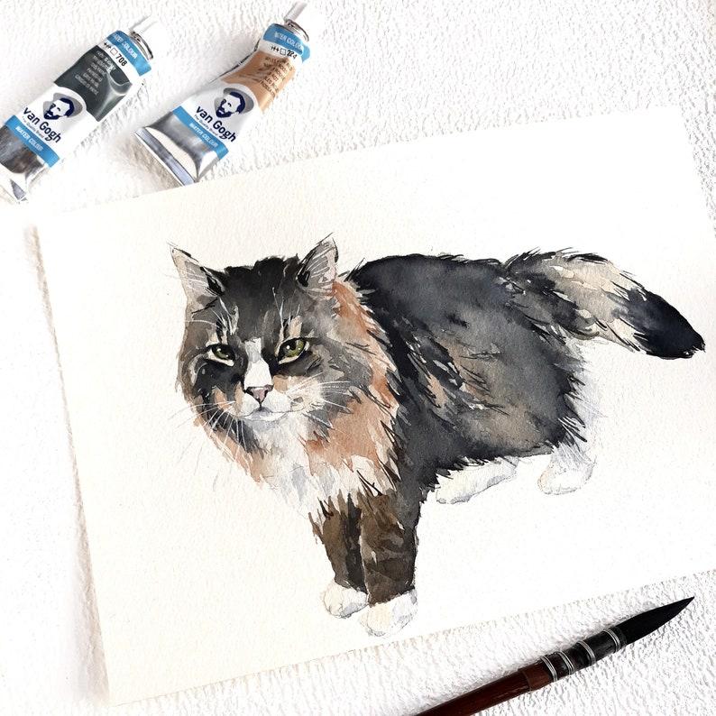 Cat Drawing Custom Cat Drawing Dog Illustration Gift for her Original Pet Housewarming Gift for mom Watercolor Custom Pet Portrait