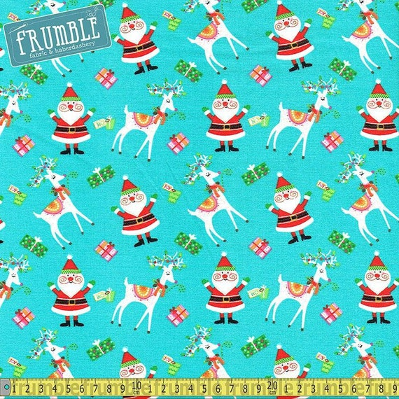 Riley Blake Fat Quarter Lost /& Found Christmas Santa Red Quilting Fabric