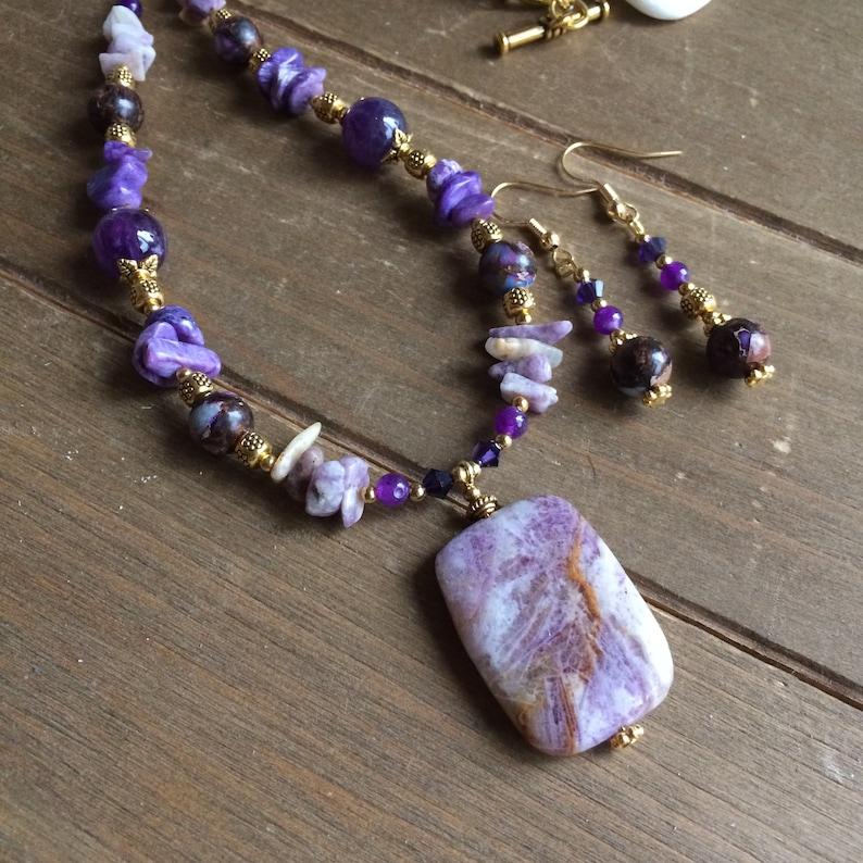 Stone jewelry set necklace earrings purple lepidolite lavender set amethyst crystal handmade beaded boho gift unique jewelry for women SLD