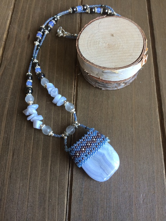 Stone necklace beaded blue kyanite necklace crystal pendant stone necklace tribal boho necklace festival season SLD unique jewelry for women