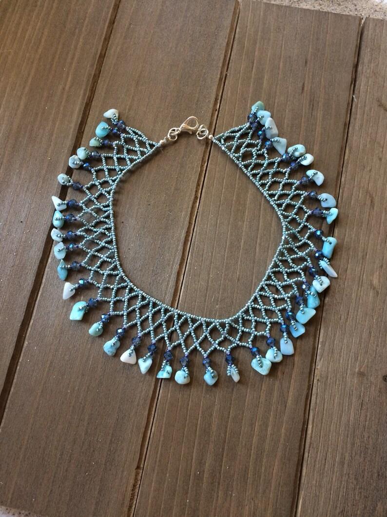 Larimar anklet blue Dominican Larimar stone anklet macrame crochet beaded anklet rare boho anklet hippie beach anklet SLD jewelry for women