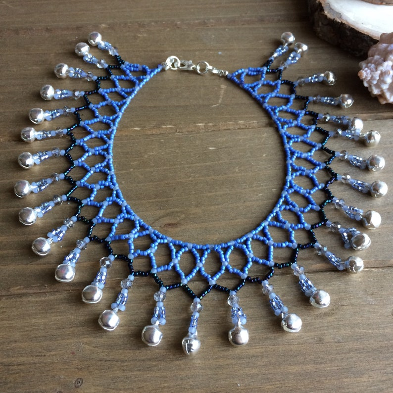 Tribal anklet bells crochet beaded anklet native boho anklet blue clapper anklet handmade macrame silver gift unique jewelry for women SLD 9