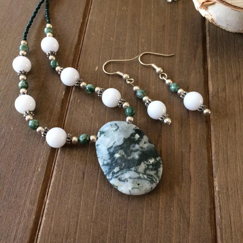 Stone jewelry set Green moss agate set pendant set white jade beaded set necklace earrings set oval boho tribal unique jewelry for women SLD