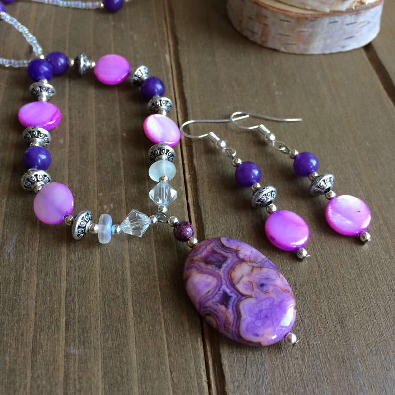 Purple crazy lace agate jewelry set natural stone necklace earrings set pink violet shell beaded boho tribal unique jewelry for women SLD