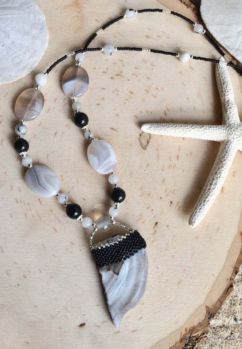 Peyote beaded necklace gray lace agate druzy Necklace black boho necklace hippie crystal necklace stone 18 inch SLD unique jewelry women men