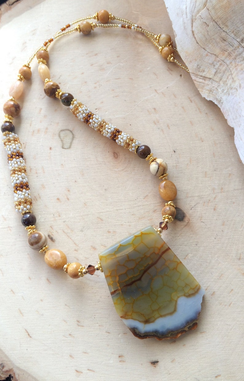 Stone beaded necklace amber lace agate necklace quartz pendant necklace stone brown necklace peyote boho necklace SLD unique jewelry women