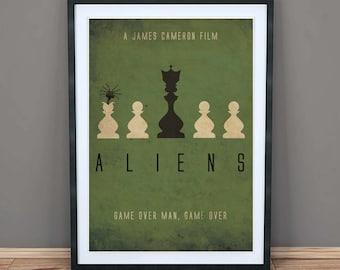 Aliens - Minimalist Movie Art Print - Poster - Wall Art