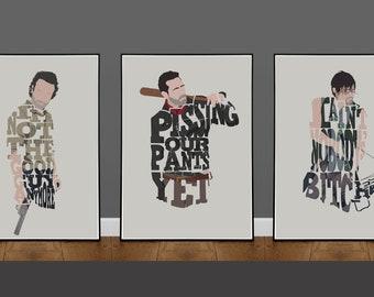 The Walking Dead 3 Poster Deal - Minimalist Movie Poster, Alternative Poster, Art Print