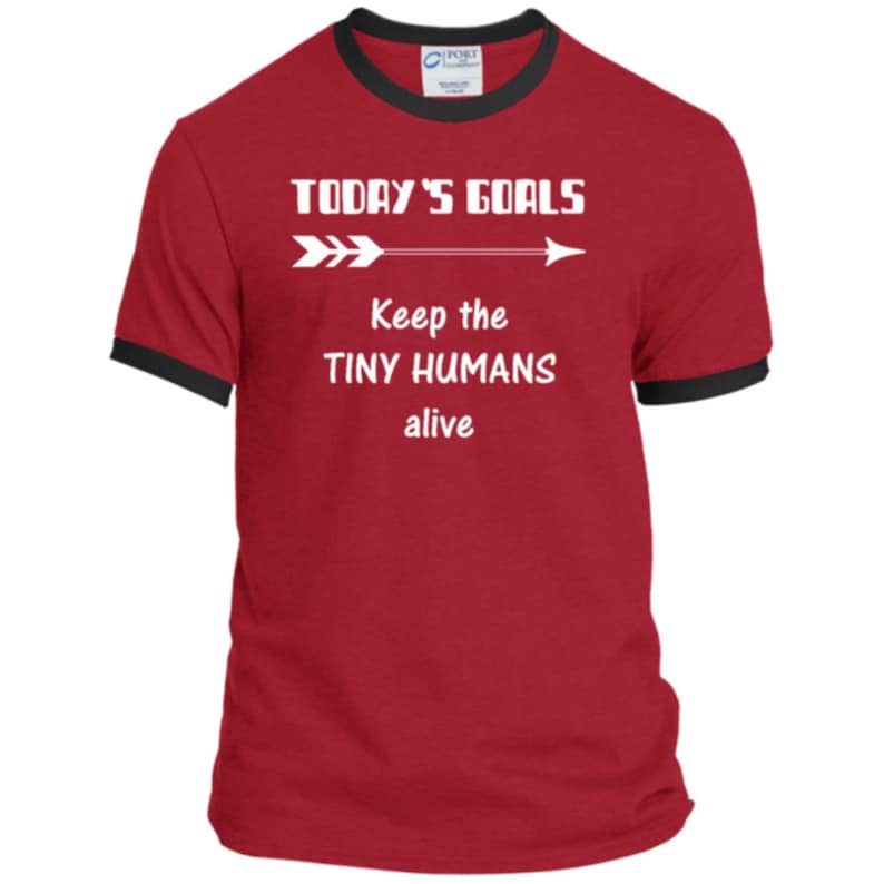 095ad7bbf600a Teeze Designs Ringer Tee Goals Tiny Humans T-Shirt Funny His Gift Kids Dad  Life