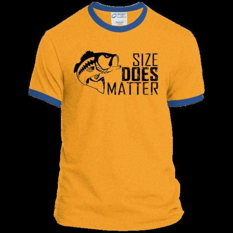 9dab8e50c8adc Teeze Designs Ringer T-Shirt Size Matters Fishing