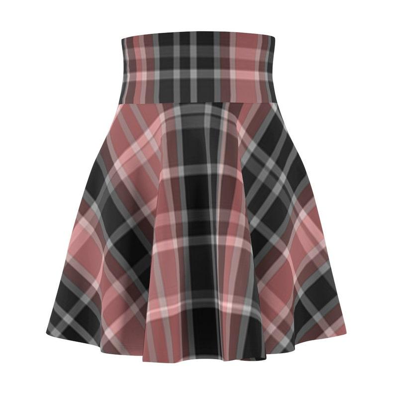 Pink And Black Plaid Skater Skirt
