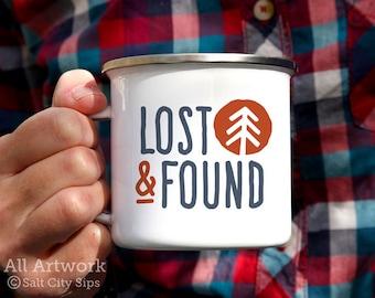 Lost and Found Enamel Camp Mug, 12 oz. - White Enamel Mug, Coffee Mug, Metal Camp Cup - Outdoor Enthusiast Gift, Gift for Hiker/Camper