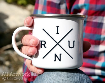 I Run X Enamel Camp Mug, 12 oz. - White Enamel Mug, Coffee Mug, Metal Camp Cup - Runner Phrase, Gift for Runner, Cross Country Running