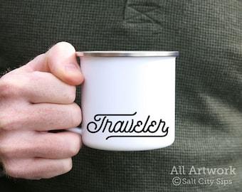 Traveler Enamel Camp Mug, 12 oz. - White Enamel Mug, Coffee Mug, Metal Camp Cup, Enamelware - Outdoor Enthusiast Gift, Gift for Traveler