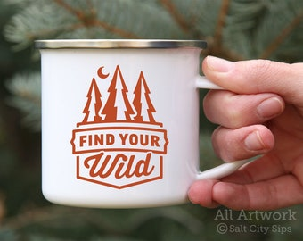 Find Your Wild Enamel Camp Mug, 12 oz. - White Enamel Mug, Coffee Mug, Metal Camp Cup - Outdoor Enthusiast Gift, Gift for Backpacker