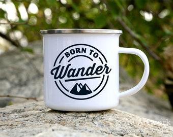 Born to Wander Enamel Camp Mug, 12 oz. - White Enamel Mug, Coffee Mug, Metal Camp Cup - Outdoor Enthusiast Gift, Gift for Hiker, Traveler