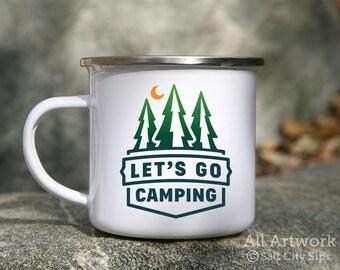 Let's Go Camping Enamel Mug, 12 oz. - White Enamel Mug, Coffee Mug, Metal Camp Cup, Enamelware - Outdoor Enthusiast Gift, Gift for Camper