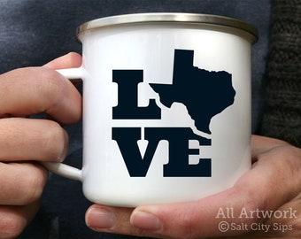 Love Texas Enamel Camp Mug, 12 oz. - White Enamel Mug, Coffee Mug, Metal Camp Cup - Texas Love, Texas Home State, Texas Born, True Texan