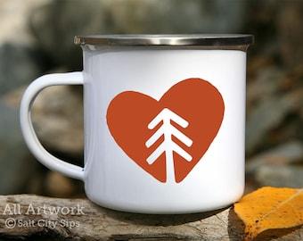 Nature Lover Enamel Camp Mug, 12 oz. - White Enamel Mug, Coffee Mug, Metal Camp Cup - Outdoor Enthusiast Gift, Tree Hugger, Pine Tree Heart