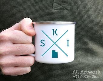 Ski Utah Enamel Camp Mug, 12 oz. - White Enamel Mug, Coffee Mug, Metal Camp Cup, Enamelware - Gift for Skier, Snow Skiing, Utah Powder