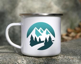 Mountain Scene Enamel Camp Mug, 12 oz. - White Enamel Mug, Coffee Mug, Metal Camp Cup - Outdoor Enthusiast Gift, Gift for Hiker or Camper