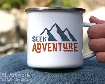 Seek Adventure Enamel Camp Mug, 12 oz. - White Enamel Mug, Coffee Mug, Metal Camp Cup - Outdoor Enthusiast Gift, Gift for Backpacker