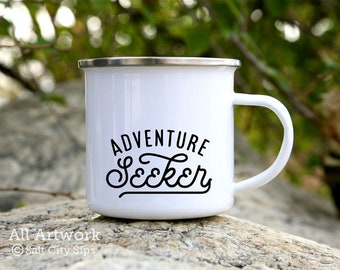 Adventure Seeker Enamel Camp Mug, 12 oz. - White Enamel Mug, Coffee Mug, Metal Camp Cup - Outdoor Enthusiast Gift, Gift for Adventurer