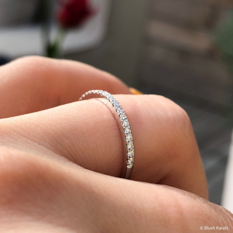 12 Eternity Diamond Band on Solid 14K White Gold Thin Stacking Ring Handmade Micro Pave Dainty Wedding Band Women/'s real diamond band