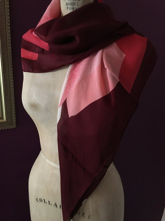 Pink & red 'Jean Patou' scarf