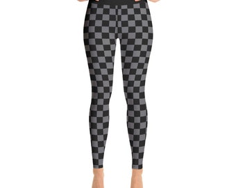 6843d574ead99 High Waist Checkered Leggings for women, Gray and Black Yoga Leggings,  All-Over Print Yoga Tights, Gym Workout Fitness | XS-XL