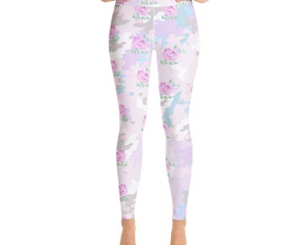 71efc46b9821 Pink Yoga Leggings, Rose Floral Pattern High Waist Leggings for women,  All-Over Print, Yoga Pants, Gym Workout Fitness, Four-way stretch