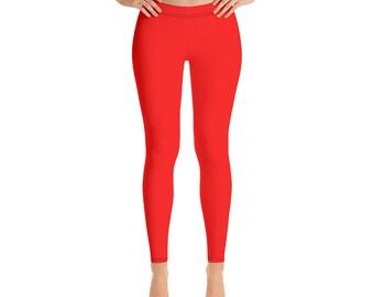 973118659e92d Red Leggings, Solid color Women's Leggings, Vibrant color leggings for women,  Comfortable microfiber yarn, Gifts for women, Gift for her