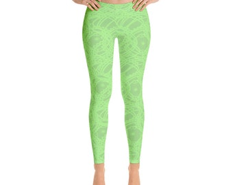 3213efb02868a Light Green Leggings for women, Neon Green Pattern, All-over print,  Four-way stretch, Elastic waistband | XS-XL